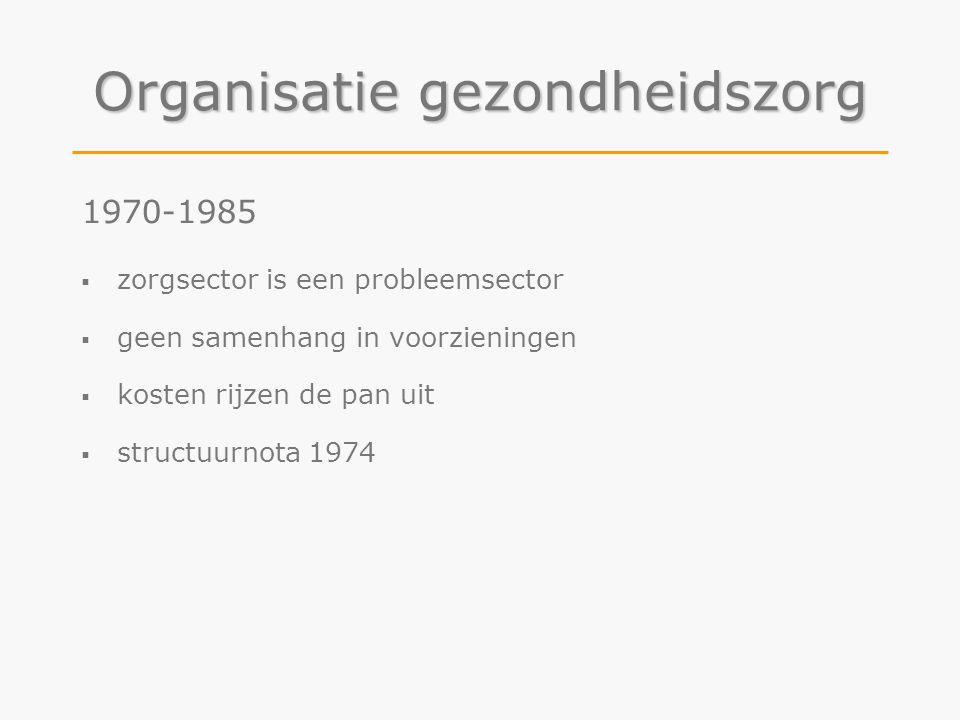 Organisatie gezondheidszorg 1970-1985  zorgsector is een probleemsector  geen samenhang in voorzieningen  kosten rijzen de pan uit  structuurnota