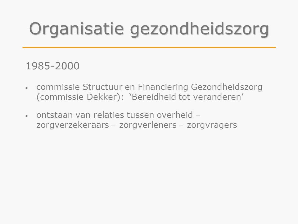 Organisatie gezondheidszorg 1985-2000  commissie Structuur en Financiering Gezondheidszorg (commissie Dekker): 'Bereidheid tot veranderen'  ontstaan