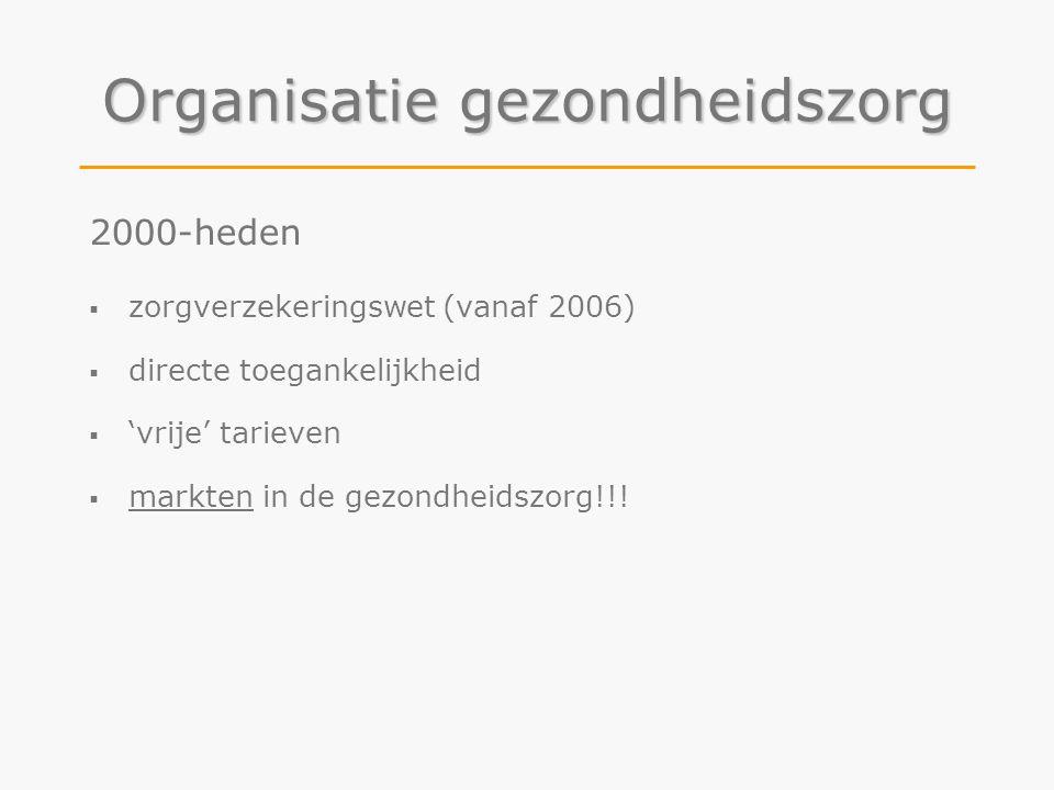 Organisatie gezondheidszorg 2000-heden  zorgverzekeringswet (vanaf 2006)  directe toegankelijkheid  'vrije' tarieven  markten in de gezondheidszor