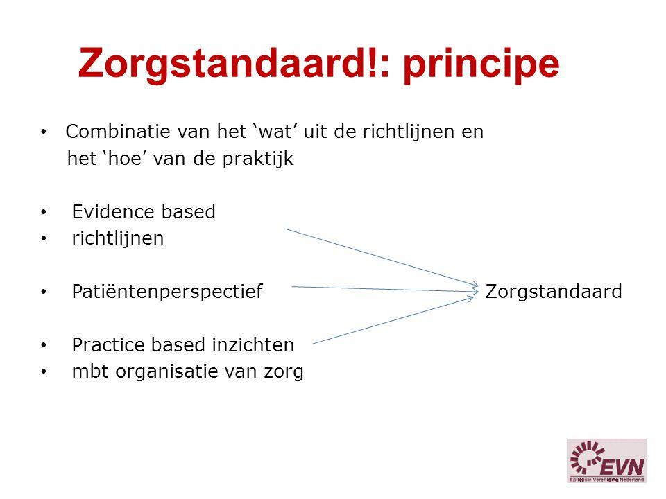 Zorgstandaard!: principe Combinatie van het 'wat' uit de richtlijnen en het 'hoe' van de praktijk Evidence based richtlijnen Patiëntenperspectief Zorg