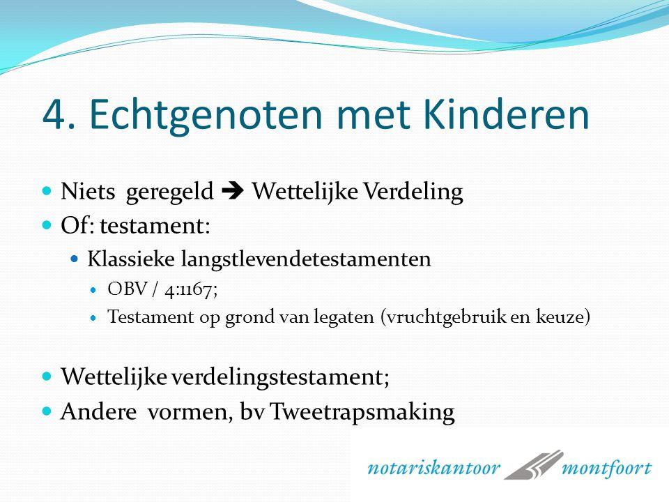 3. Andere wettelijke rechten Kinderen: Legitieme (werking) Wilsrechten voor kinderen bij hertrouwen; Aanspraak som ineens voor in verleden verrichte a
