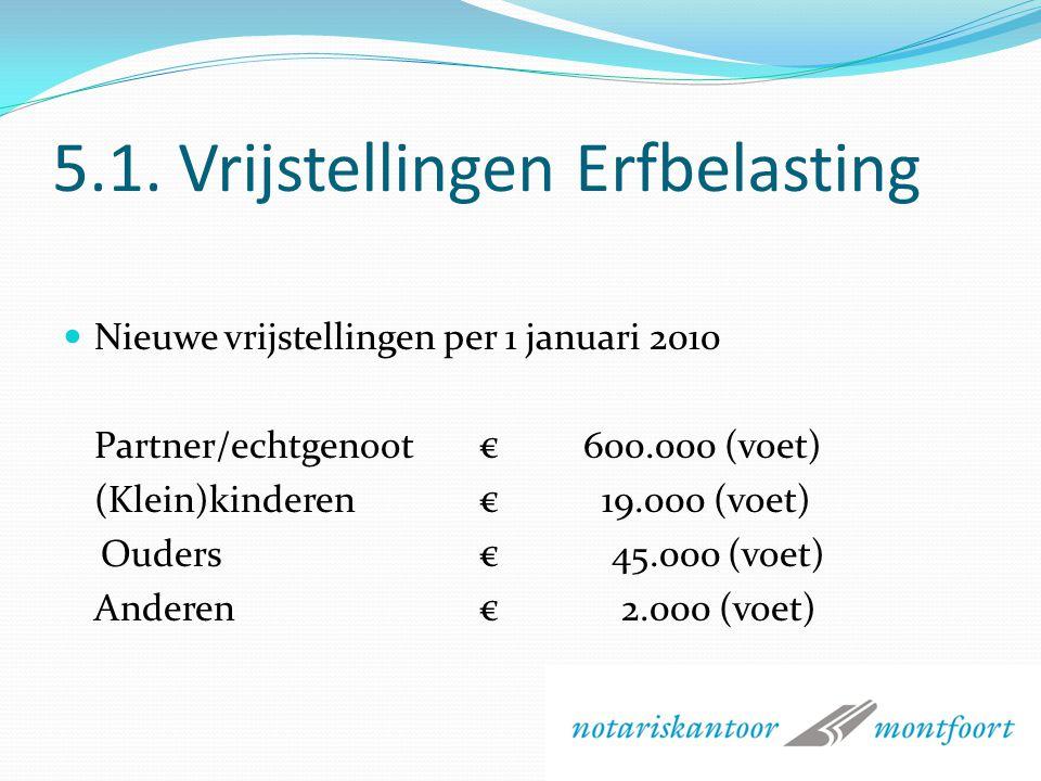5. Successiewetgeving (fiscaal) Per 1 januari 2010 gewijzigd Nieuw partnerbegrip (Samenlevingsovereenkomst!) Vrijstelling verhoogd Toptarief is eraf G