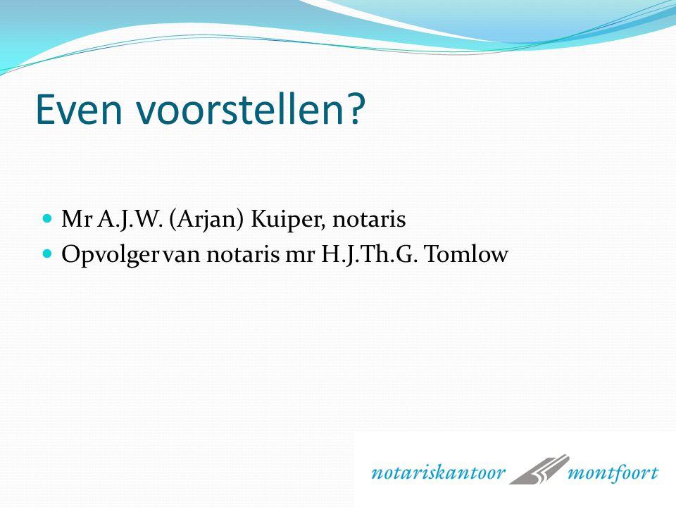 LEZING ERFRECHT SWOM Op: 15 april 2010 Door: mr A.J.W. (Arjan) Kuiper, notaris te Montfoort