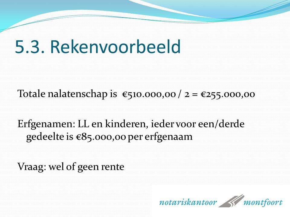 5.3. Rekenvoorbeeld A en B gehuwd, kinderen C en D Eigen woning: €550.000,00 Hypotheek: €50.000,00 Spaargeld:€10.000,00 A is 65 jaar, B is 63 jaar A k
