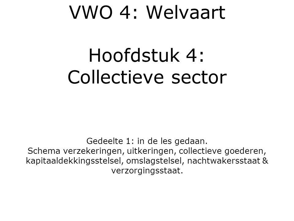 VWO 4: Welvaart Hoofdstuk 4: Collectieve sector Gedeelte 1: in de les gedaan.