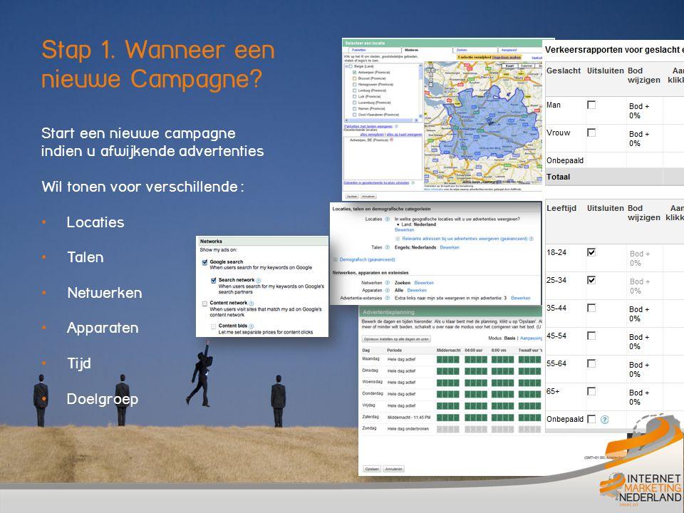 Start een nieuwe campagne indien u afwijkende advertenties Wil tonen voor verschillende : Locaties Talen Netwerken Apparaten Tijd Doelgroep Stap 1.