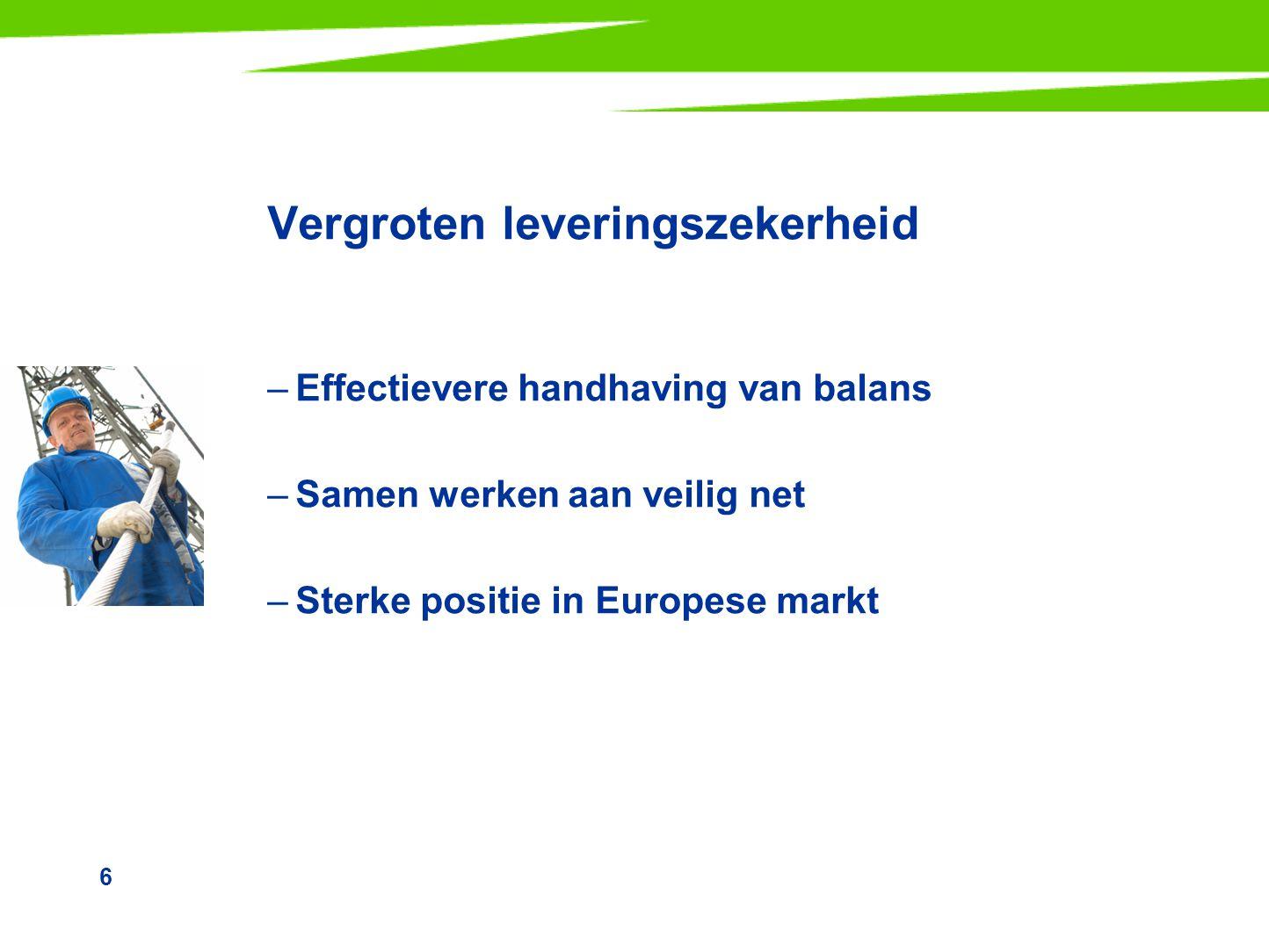 6 Vergroten leveringszekerheid –Effectievere handhaving van balans –Samen werken aan veilig net –Sterke positie in Europese markt