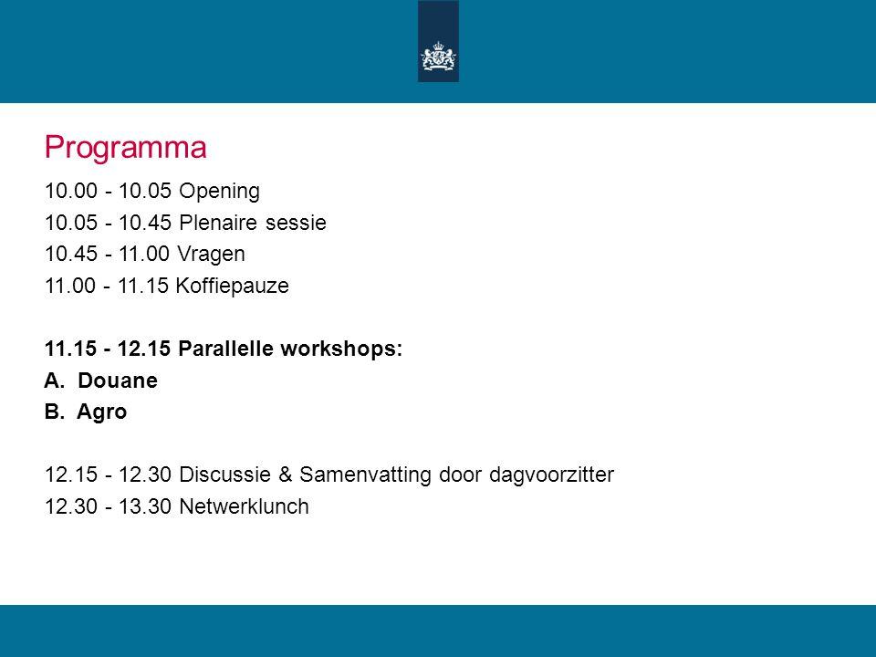 Programma 10.00 - 10.05 Opening 10.05 - 10.45 Plenaire sessie 10.45 - 11.00 Vragen 11.00 - 11.15 Koffiepauze 11.15 - 12.15 Parallelle workshops: A. Do