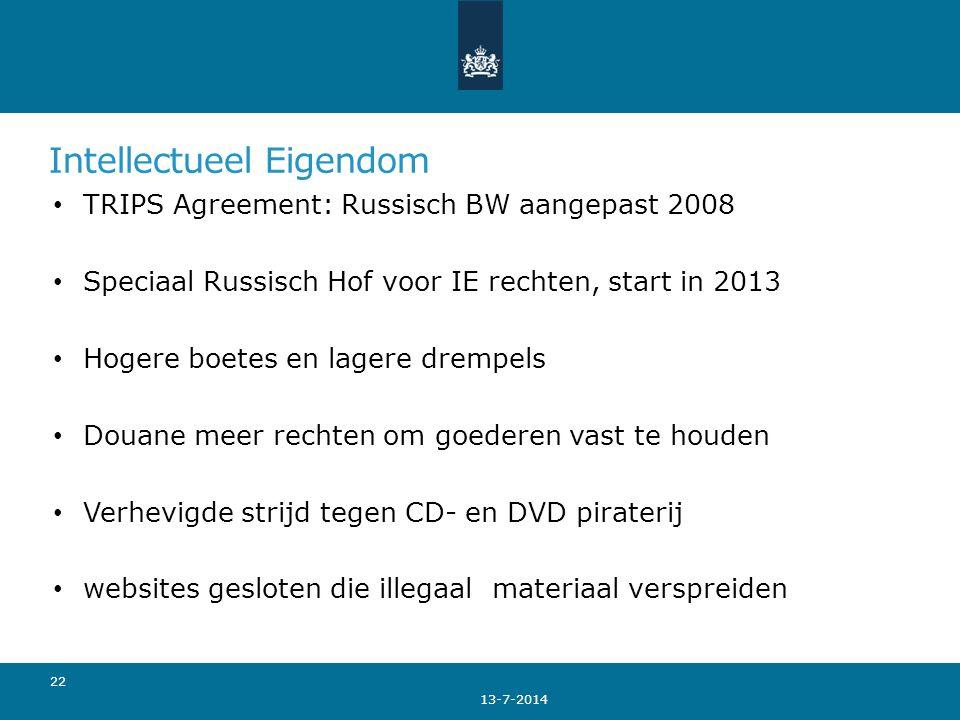 Intellectueel Eigendom TRIPS Agreement: Russisch BW aangepast 2008 Speciaal Russisch Hof voor IE rechten, start in 2013 Hogere boetes en lagere drempe
