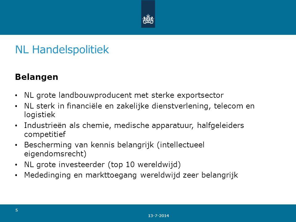 NL Handelspolitiek Belangen NL grote landbouwproducent met sterke exportsector NL sterk in financiële en zakelijke dienstverlening, telecom en logisti