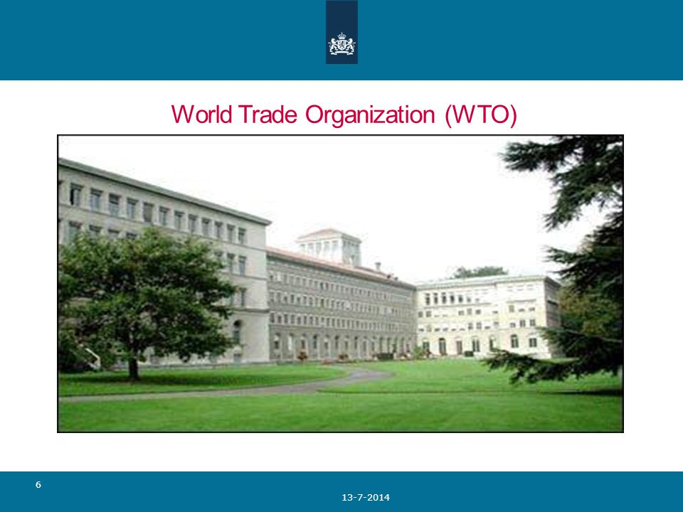 World Trade Organization (WTO) 13-7-2014 6