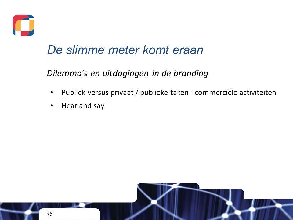 De slimme meter komt eraan 15 Dilemma's en uitdagingen in de branding Publiek versus privaat / publieke taken - commerciële activiteiten Hear and say