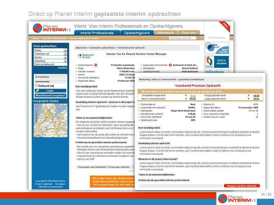 25-8-2009 Voorbeelden van direct geplaatste interim opdrachten.