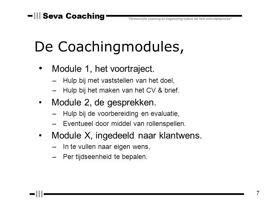 7 De Coachingmodules, Module 1, het voortraject.