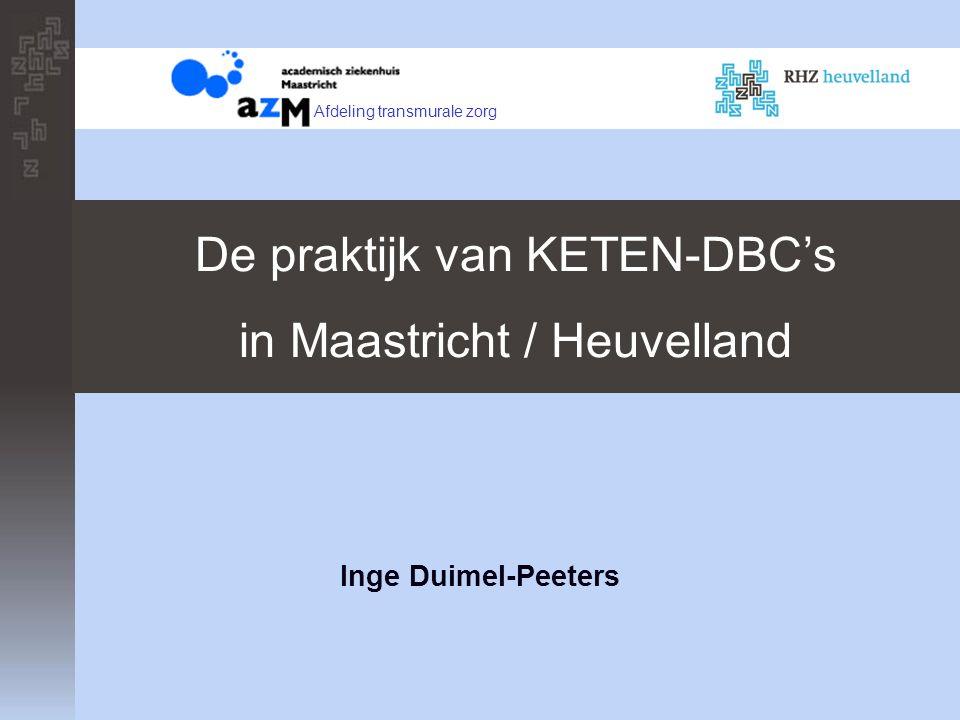 Inge Duimel-Peeters De praktijk van KETEN-DBC's in Maastricht / Heuvelland Afdeling transmurale zorg