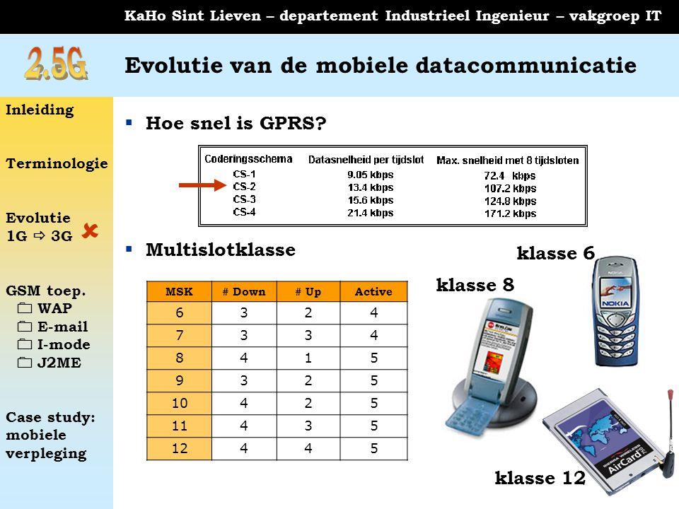 Inleiding Terminologie Evolutie 1G  3G GSM toep.  WAP  E-mail  I-mode  J2ME Case study: mobiele verpleging KaHo Sint Lieven – departement Industr