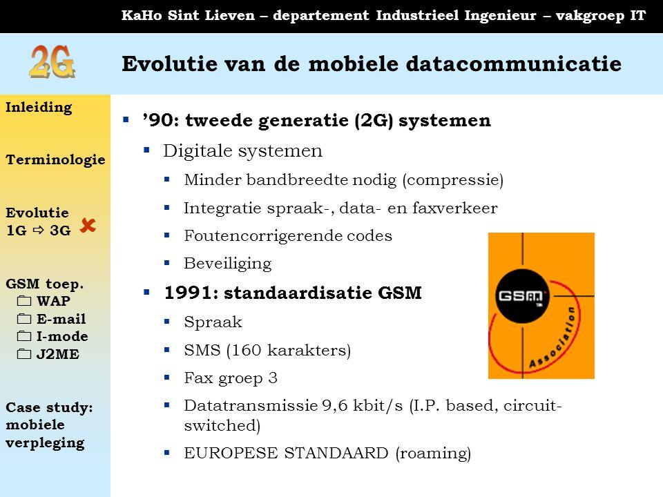 Inleiding Terminologie Evolutie 1G  3G GSM toep.