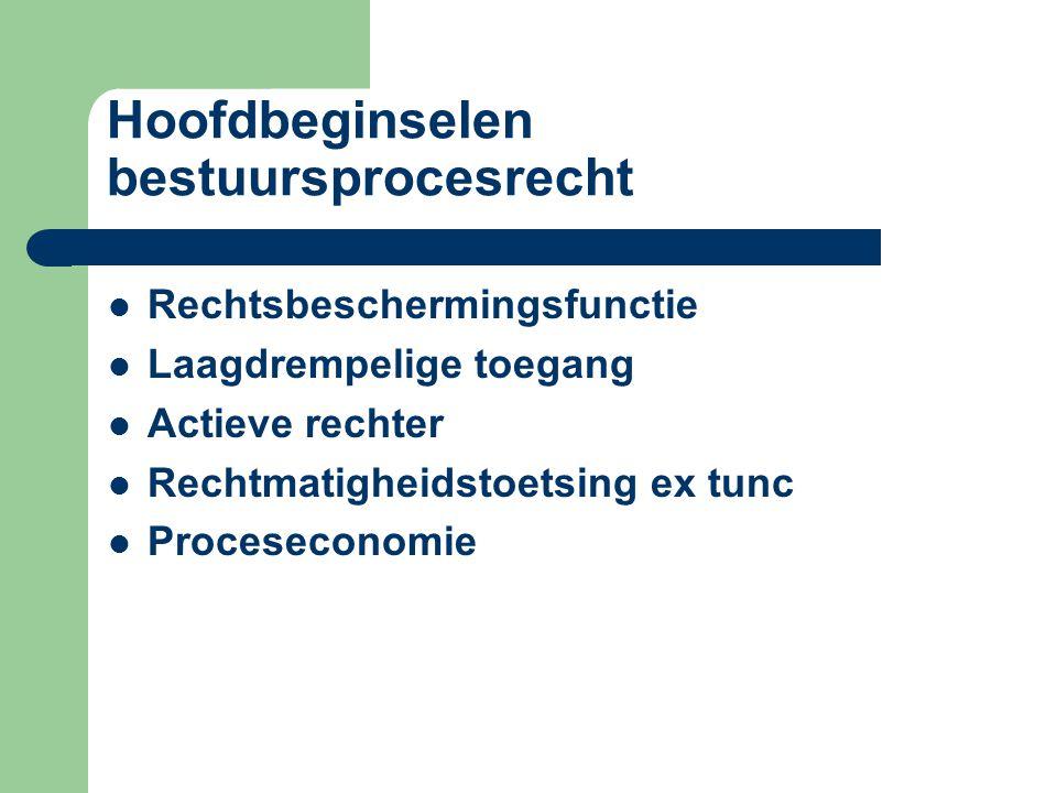 Hoofdbeginselen bestuursprocesrecht Rechtsbeschermingsfunctie Laagdrempelige toegang Actieve rechter Rechtmatigheidstoetsing ex tunc Proceseconomie