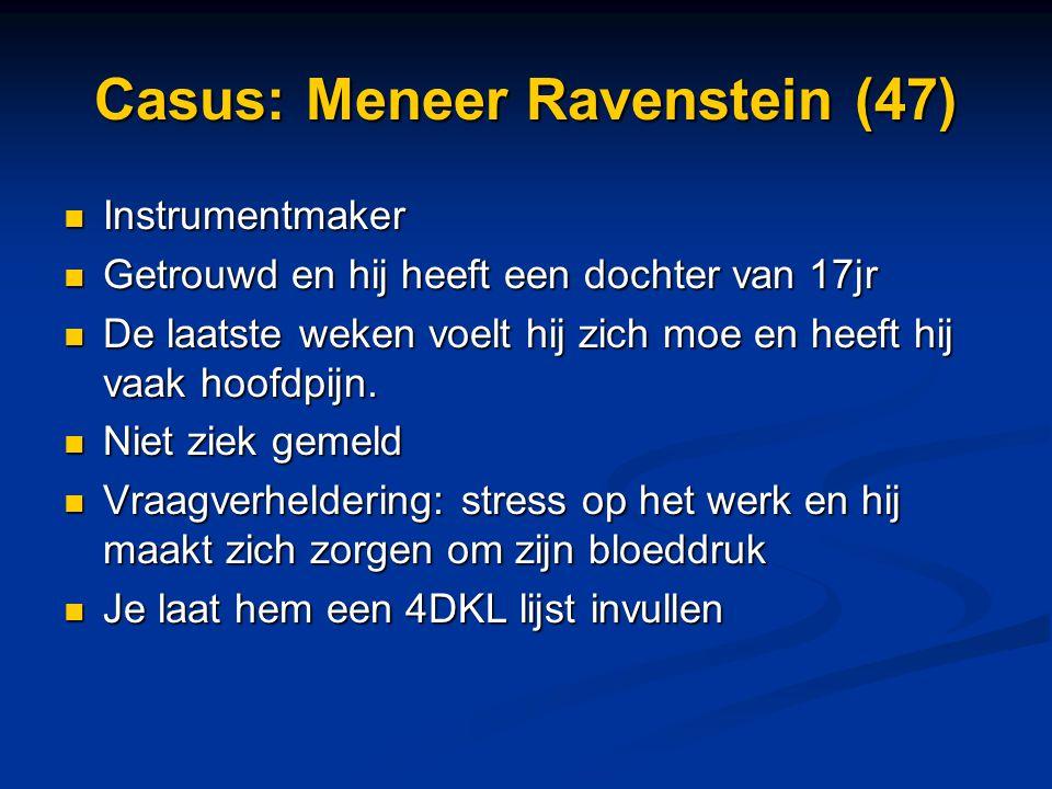 Casus: Meneer Ravenstein (47) Instrumentmaker Instrumentmaker Getrouwd en hij heeft een dochter van 17jr Getrouwd en hij heeft een dochter van 17jr De