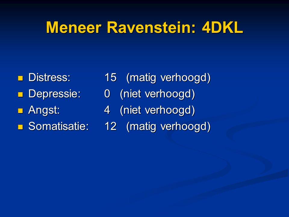 Meneer Ravenstein: 4DKL Distress:15 (matig verhoogd) Distress:15 (matig verhoogd) Depressie: 0 (niet verhoogd) Depressie: 0 (niet verhoogd) Angst:4 (n