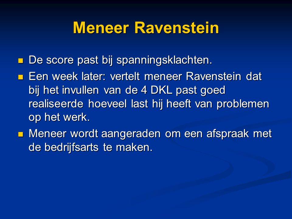 Meneer Ravenstein De score past bij spanningsklachten. De score past bij spanningsklachten. Een week later: vertelt meneer Ravenstein dat bij het invu