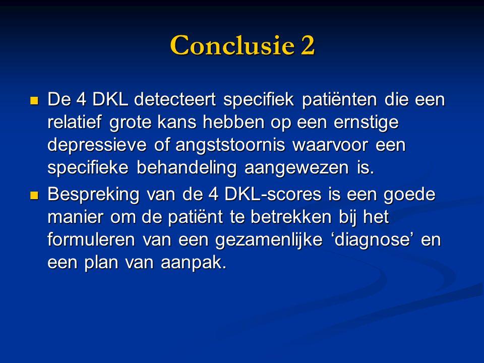 Conclusie 2 De 4 DKL detecteert specifiek patiënten die een relatief grote kans hebben op een ernstige depressieve of angststoornis waarvoor een speci