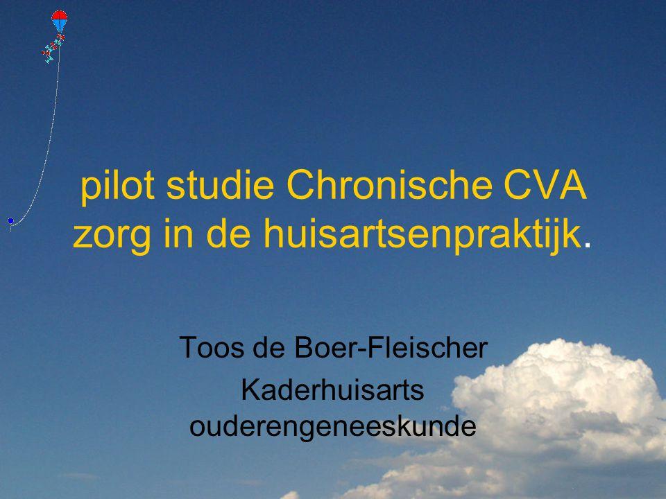 pilot studie Chronische CVA zorg in de huisartsenpraktijk. Toos de Boer-Fleischer Kaderhuisarts ouderengeneeskunde