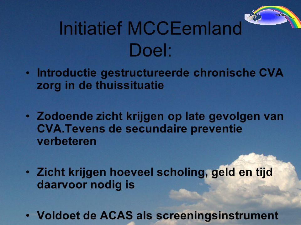 Initiatief MCCEemland Doel: Introductie gestructureerde chronische CVA zorg in de thuissituatie Zodoende zicht krijgen op late gevolgen van CVA.Tevens