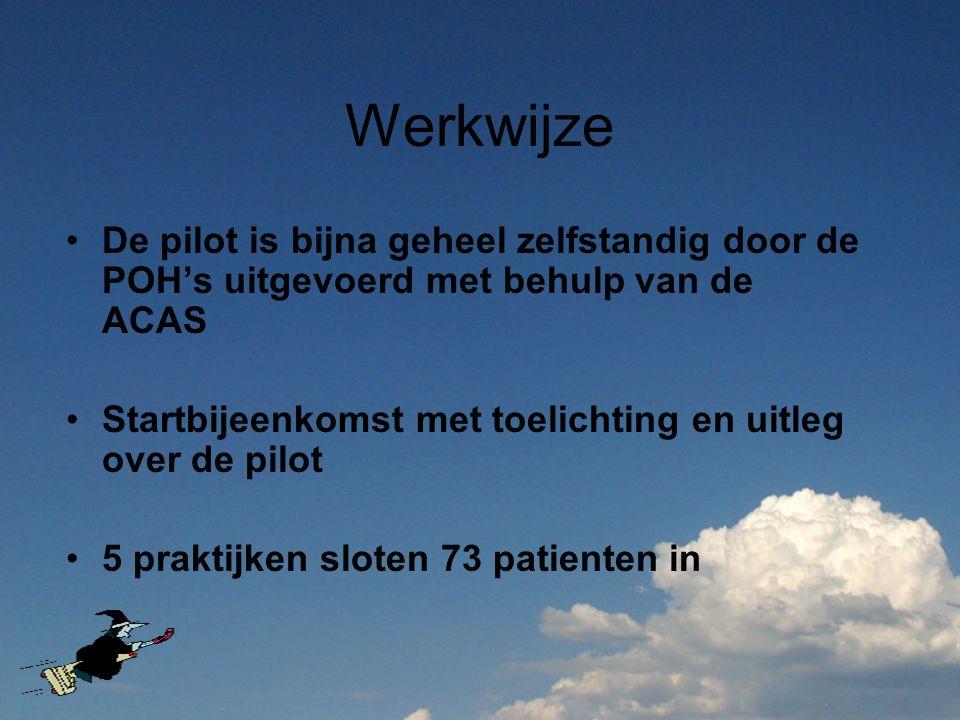 Werkwijze De pilot is bijna geheel zelfstandig door de POH's uitgevoerd met behulp van de ACAS Startbijeenkomst met toelichting en uitleg over de pilo