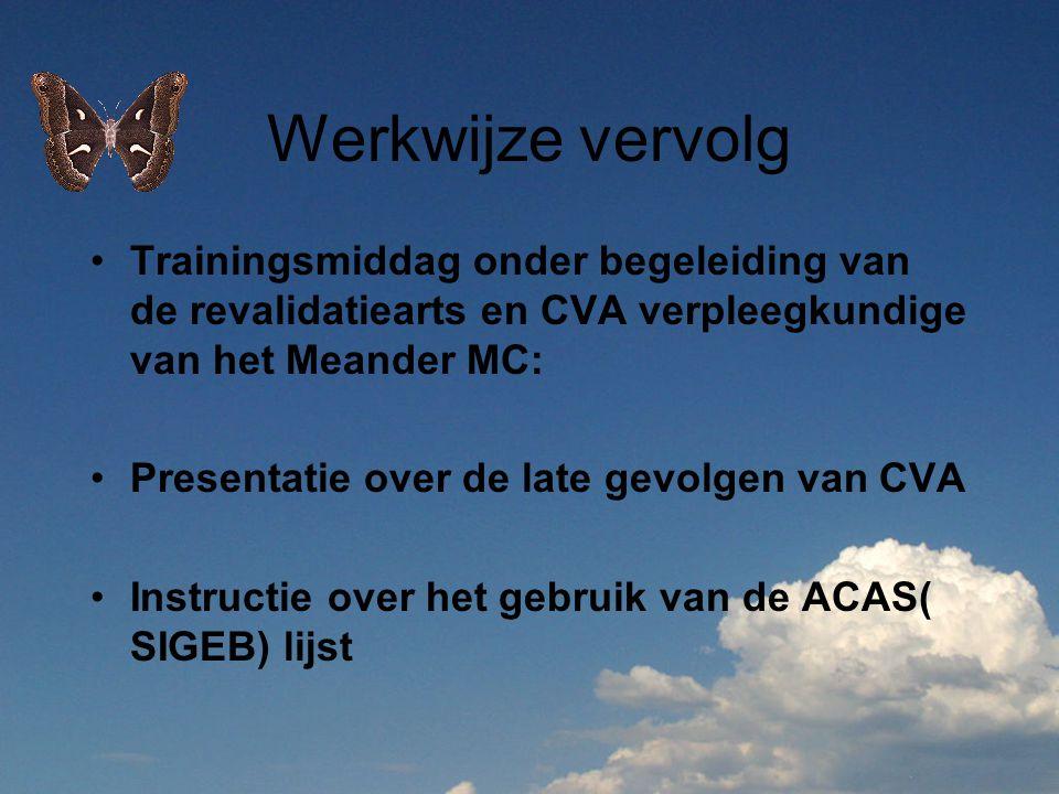 Werkwijze vervolg Trainingsmiddag onder begeleiding van de revalidatiearts en CVA verpleegkundige van het Meander MC: Presentatie over de late gevolge