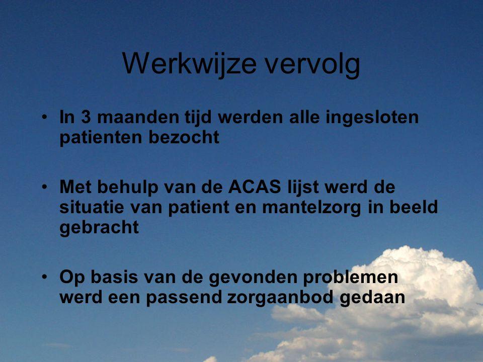 Werkwijze vervolg In 3 maanden tijd werden alle ingesloten patienten bezocht Met behulp van de ACAS lijst werd de situatie van patient en mantelzorg i