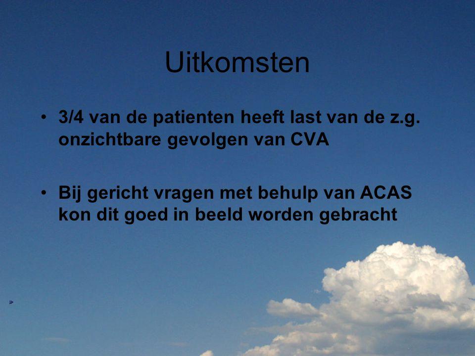 Uitkomsten 3/4 van de patienten heeft last van de z.g. onzichtbare gevolgen van CVA Bij gericht vragen met behulp van ACAS kon dit goed in beeld worde