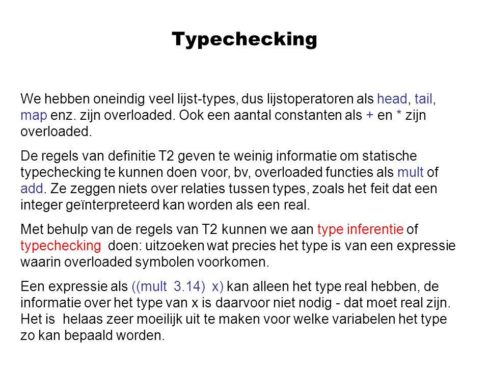 Typechecking We hebben oneindig veel lijst-types, dus lijstoperatoren als head, tail, map enz.