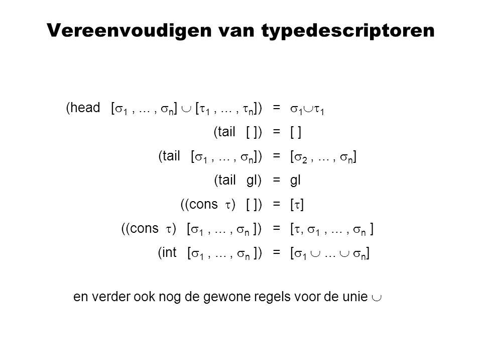 Vereenvoudigen van typedescriptoren (head [  1,...,  n ]  [  1,...,  n ]) = (tail [ ]) = (tail [  1,...,  n ]) = (tail gl) = ((cons  ) [ ]) = ((cons  ) [  1,...,  n ]) = (int [  1,...,  n ]) =  1  1 [ ] [  2,...,  n ] gl [  ] [ ,  1,...,  n ] [  1 ...