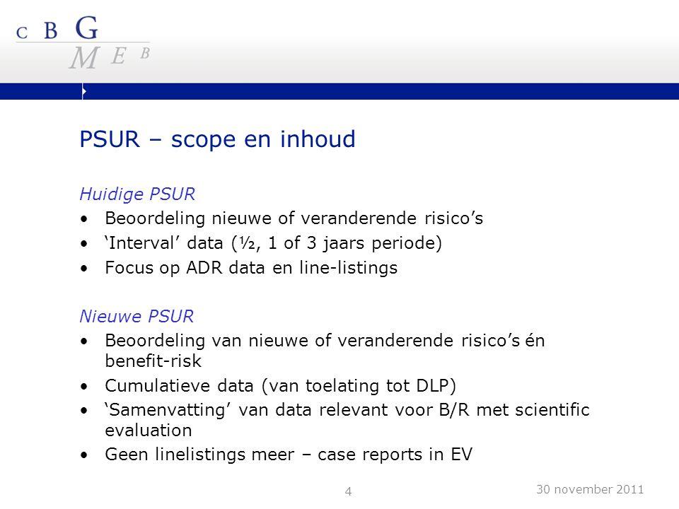 4 PSUR – scope en inhoud Huidige PSUR Beoordeling nieuwe of veranderende risico's 'Interval' data (½, 1 of 3 jaars periode) Focus op ADR data en line-