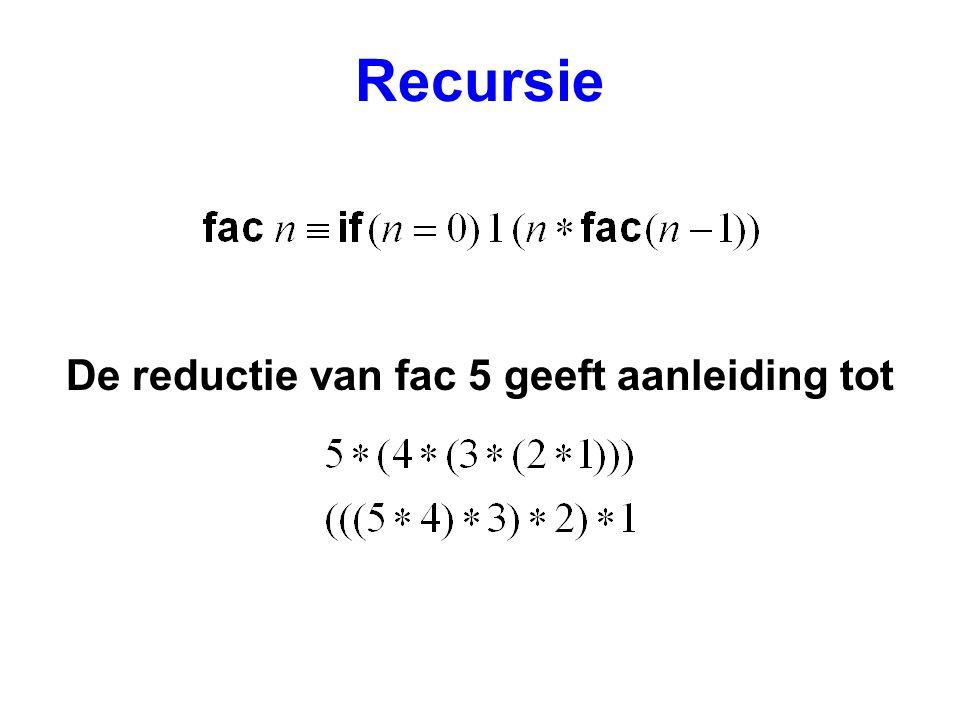 Recursie De reductie van fac 5 geeft aanleiding tot