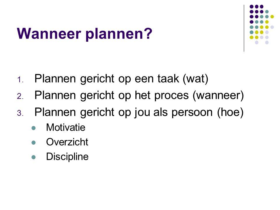 Wanneer plannen.1. Plannen gericht op een taak (wat) 2.