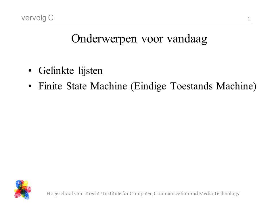 vervolg C Hogeschool van Utrecht / Institute for Computer, Communication and Media Technology 2 Lijst operaties 1.Voeg toe achteraan (enqueue) 2.Haal weg vooraan (dequeue, pop) 3.Voeg toe vooraan (push) 4.Haal weg achteraan (?) 5.Voeg toe in 't midden 6.Haal weg in 't midden