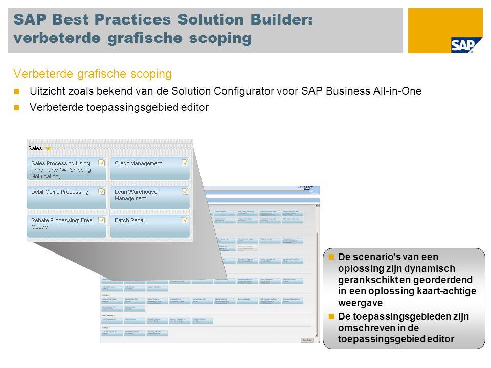 SAP Best Practices Solution Builder: verbeterde grafische scoping Verbeterde grafische scoping Uitzicht zoals bekend van de Solution Configurator voor SAP Business All-in-One Verbeterde toepassingsgebied editor De scenario s van een oplossing zijn dynamisch gerankschikt en georderdend in een oplossing kaart-achtige weergave De toepassingsgebieden zijn omschreven in de toepassingsgebied editor