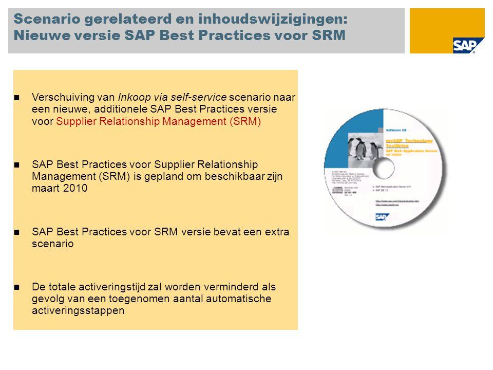 Scenario gerelateerd en inhoudswijzigingen: Nieuwe versie SAP Best Practices voor SRM Verschuiving van Inkoop via self-service scenario naar een nieuwe, additionele SAP Best Practices versie voor Supplier Relationship Management (SRM) SAP Best Practices voor Supplier Relationship Management (SRM) is gepland om beschikbaar zijn maart 2010 SAP Best Practices voor SRM versie bevat een extra scenario De totale activeringstijd zal worden verminderd als gevolg van een toegenomen aantal automatische activeringsstappen
