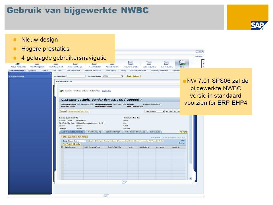 Gebruik van bijgewerkte NWBC Nieuw design Hogere prestaties 4-gelaagde gebruikersnavigatie NW 7.01 SPS06 zal de bijgewerkte NWBC versie in standaard voorzien for ERP EHP4