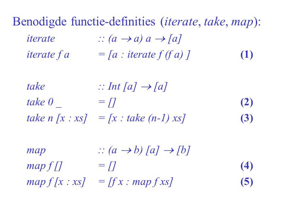 Basis: bewijs eigenschap voor n = 0 (aanname) take n (iterate f (f x)) = take n (map f (iterate f x)) (aanname) (2) take 0 (iterate f (f x)) = take 0 (map f (iterate f x)) (2) [] = [] (qed)