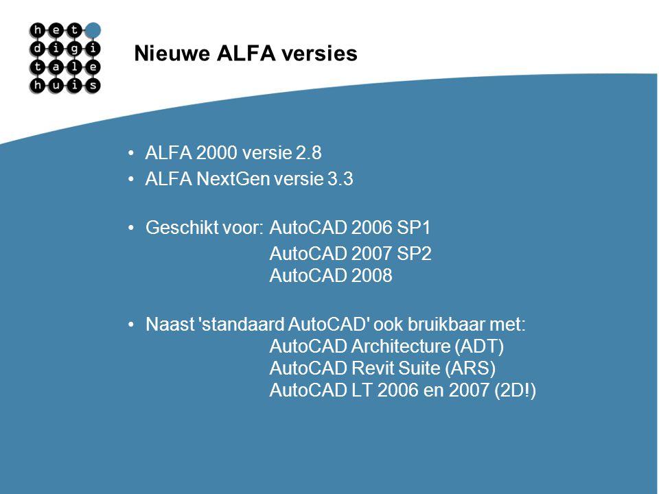 Gebruikersdagen 11, 12 en 13 maart Nieuwe ALFA versies ALFA 2000 versie 2.8 ALFA NextGen versie 3.3 Geschikt voor:AutoCAD 2006 SP1 AutoCAD 2007 SP2 Au