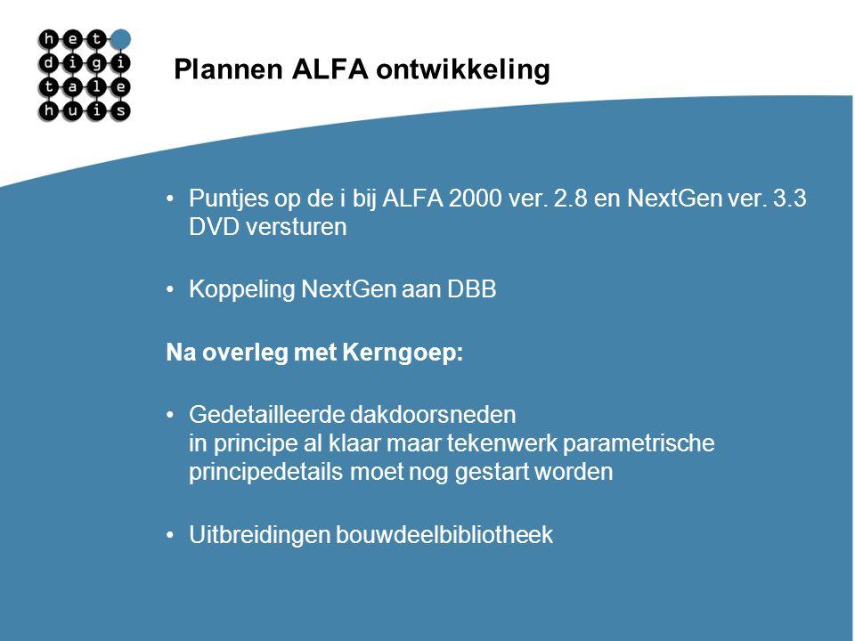 Gebruikersdagen 11, 12 en 13 maart Plannen ALFA ontwikkeling Puntjes op de i bij ALFA 2000 ver. 2.8 en NextGen ver. 3.3 DVD versturen Koppeling NextGe
