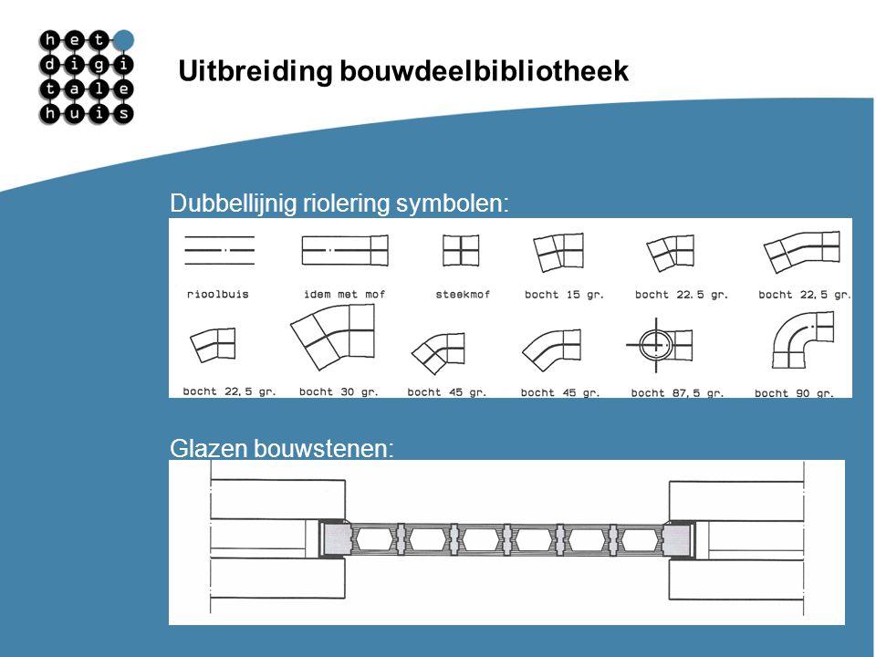 Gebruikersdagen 11, 12 en 13 maart Uitbreiding bouwdeelbibliotheek Dubbellijnig riolering symbolen: Glazen bouwstenen: