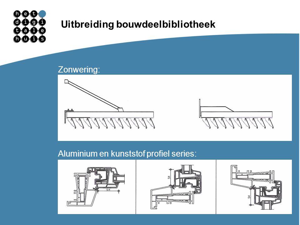 Gebruikersdagen 11, 12 en 13 maart Uitbreiding bouwdeelbibliotheek Zonwering: Aluminium en kunststof profiel series: