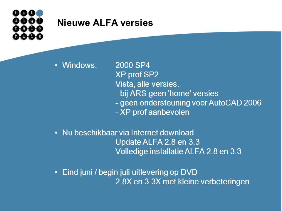 Gebruikersdagen 11, 12 en 13 maart Nieuwe ALFA versies Windows:2000 SP4 XP prof SP2 Vista, alle versies. - bij ARS geen 'home' versies - geen onderste