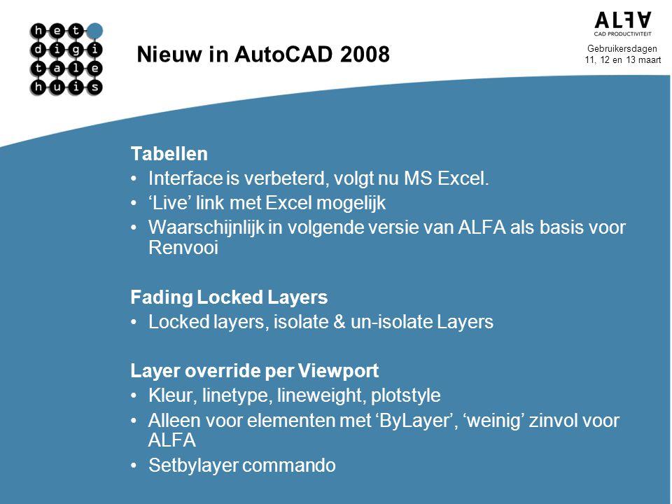 Gebruikersdagen 11, 12 en 13 maart Nieuw in AutoCAD 2008 Tabellen Interface is verbeterd, volgt nu MS Excel. 'Live' link met Excel mogelijk Waarschijn