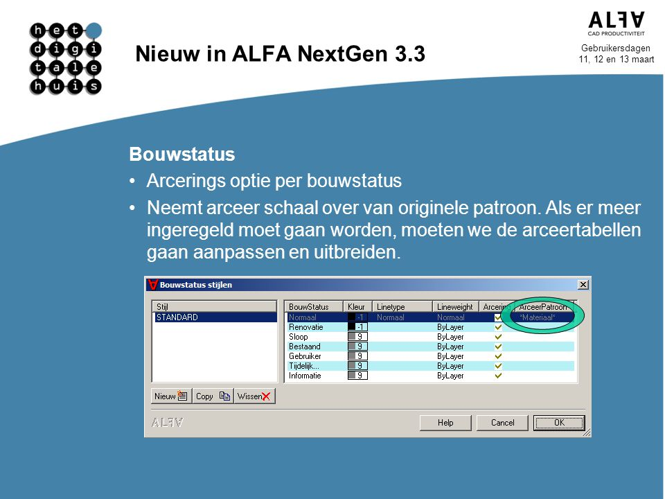 Gebruikersdagen 11, 12 en 13 maart Nieuw in ALFA NextGen 3.3 Bouwstatus Arcerings optie per bouwstatus Neemt arceer schaal over van originele patroon.