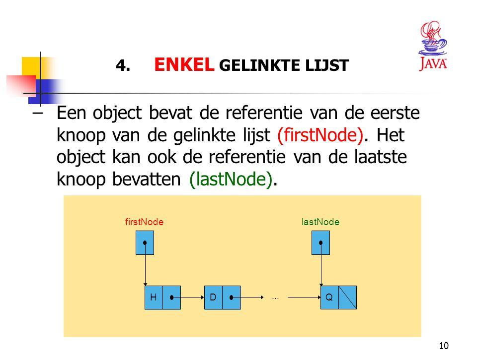 10 4. ENKEL GELINKTE LIJST firstNode... HD Q lastNode –Een object bevat de referentie van de eerste knoop van de gelinkte lijst (firstNode). Het objec